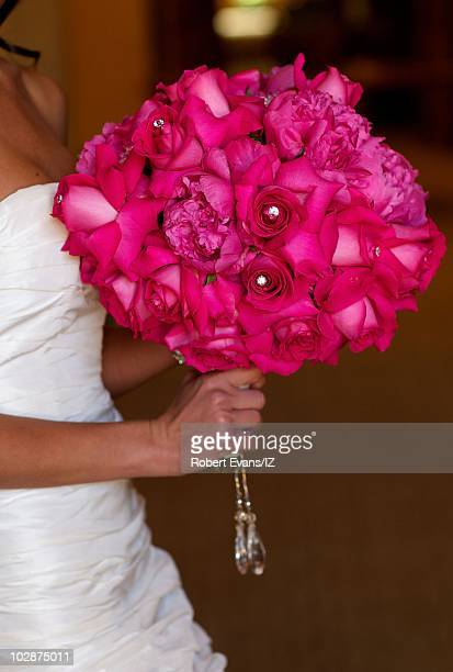 **EXCLUSIVE** Erin Ludwig poses during her and actor Ian Ziering's wedding celebration held at the Pelican Hill Resort on May 28 2010 in Newport...