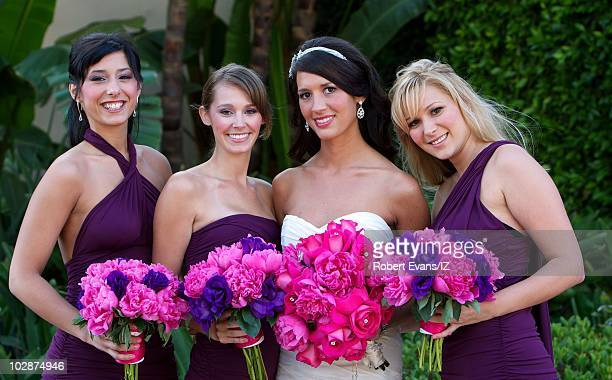 **EXCLUSIVE** Erin Ludwig poses with bridesmaids during her and actor Ian Ziering's wedding celebration held at the Pelican Hill Resort on May 28...