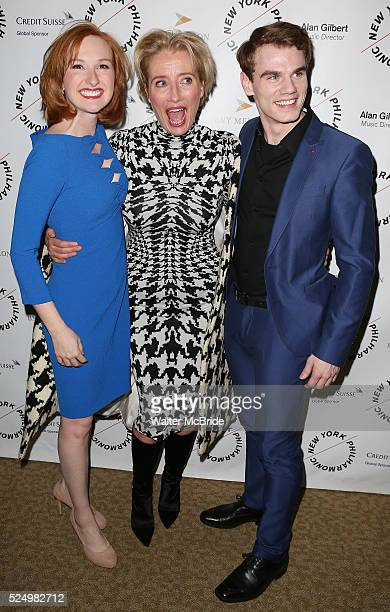 Erin Mackey Emma Thompson and Jay Armstrong Johnson attends the Opening Night Gala Party for the New York Philharmonic staged production of 'Sweeney...