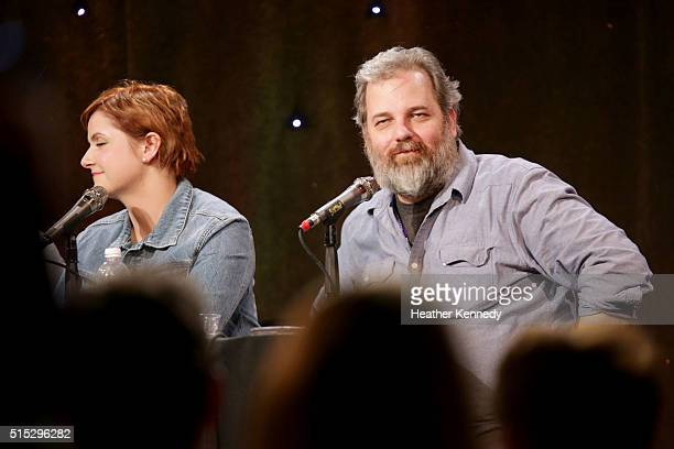 Erin McGathy and Dan Harmon speak onstage at HarmonQuest during the 2016 SXSW Music Film Interactive Festival at Esther's Follies on March 12 2016 in...
