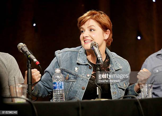 Erin McGathy speaks onstage at HarmonQuest during the 2016 SXSW Music Film Interactive Festival at Esther's Follies on March 12 2016 in Austin Texas