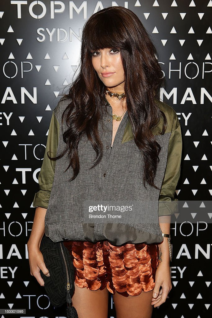Erin McNaught arrives for the Topshop Topman Sydney launch party on October 3, 2012 in Sydney, Australia.