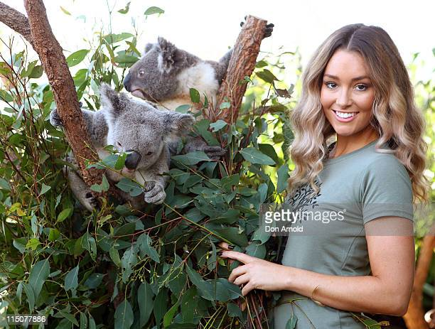 Erin McNaught poses alongside a koalas Jay and Sydn after being announced as the Australian Koala Foundation's 'Cuddles for Koalas' ambassador at the...