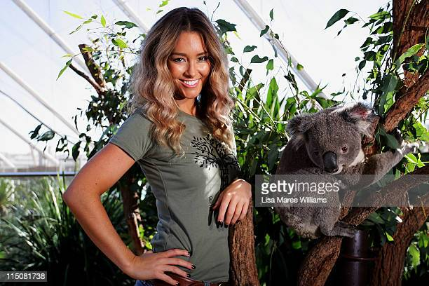 Erin McNaught poses alongside Jay the koala after being announced as the Australian Koala Foundation's 'Cuddles for Koalas' ambassador at the Sydney...