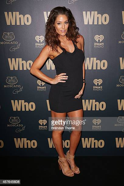 Erin McNaught poses at WHO's sexiest people party 2014 at Fox Studios on October 22 2014 in Sydney Australia