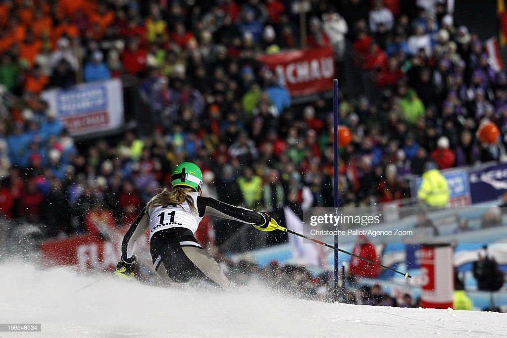 Erin Mielzynski of Canada competes during the Audi FIS Alpine Ski World Cup Women's Slalom on January 15, 2013 in Flachau, Austria.
