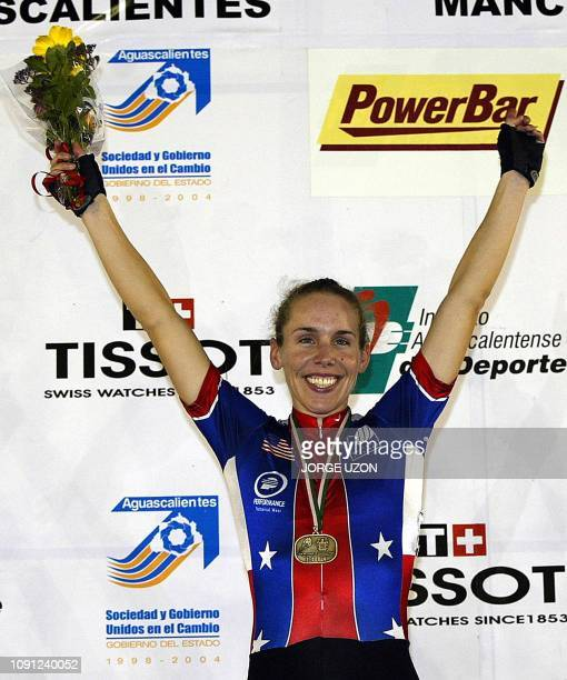 Erin Mirabella of the United States celebrates after wining the Women's 20Km Points Race Final during the 2004 UCI World Cup Classics Aguascalientes...