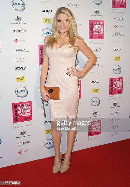 Erin Molan arrives at the 'I Support Women In Sport' awards at Establishment on October 13 2014 in Sydney Australia