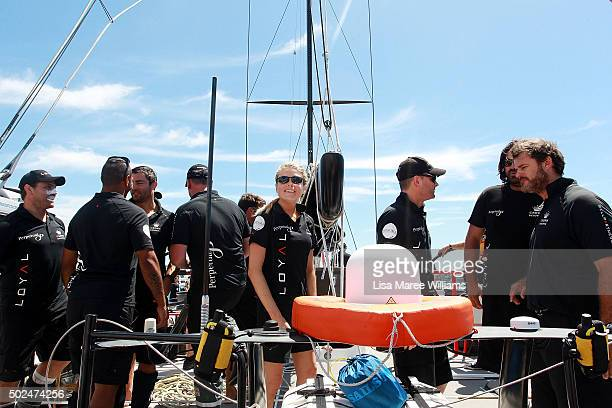 Erin Molan joins crew aboard Perpetual LOYAL during their Boxing Day Bon Voyage at Rose Bay Marina on December 26 2015 in Sydney Australia