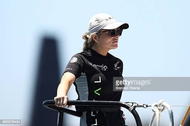 Erin Molan looks on aboard 'Perpetual Loyal' prior to the race start during the 2016 Sydney To Hobart Yacht Race on December 26 2016 in Sydney...