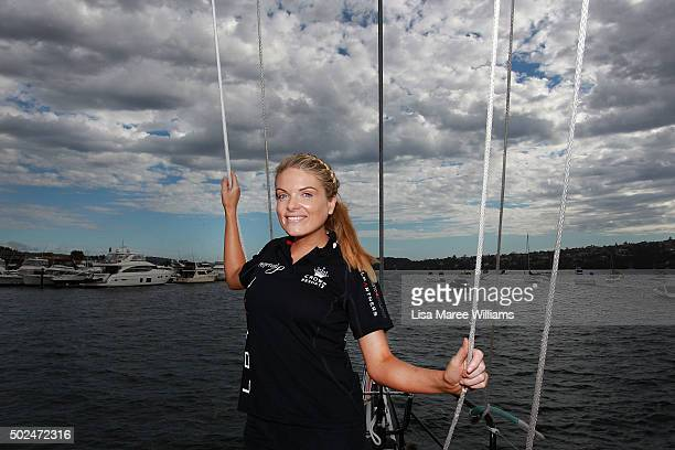 Erin Molan poses during Perpetual LOYAL's Boxing Day Bon Voyage at Rose Bay Marina on December 26 2015 in Sydney Australia