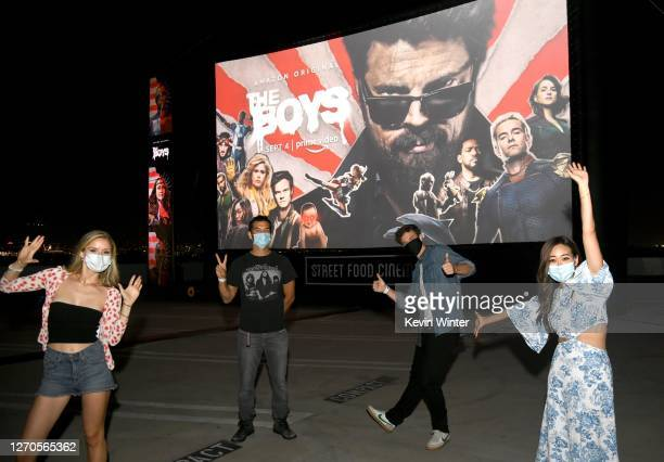 "Erin Moriarty, Antony Starr, Jack Quaid and Karen Fukuhara attend Amazon Prime Video's ""The Boys"" Season 2 Drive-In Premiere & Fan Screening on..."