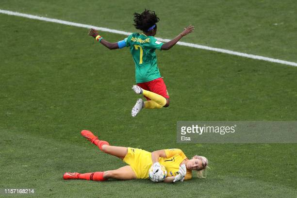 Erin Nayler of New Zealand dispossesses Gabrielle Aboudi Onguene of Cameroon during the 2019 FIFA Women's World Cup France group E match between...