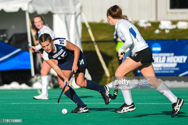 Erin Nicholas of Middlebury dribbles upfield during the Division III Women's Field Hockey Championship held at Spooky Nook Sports on November 24 2019...