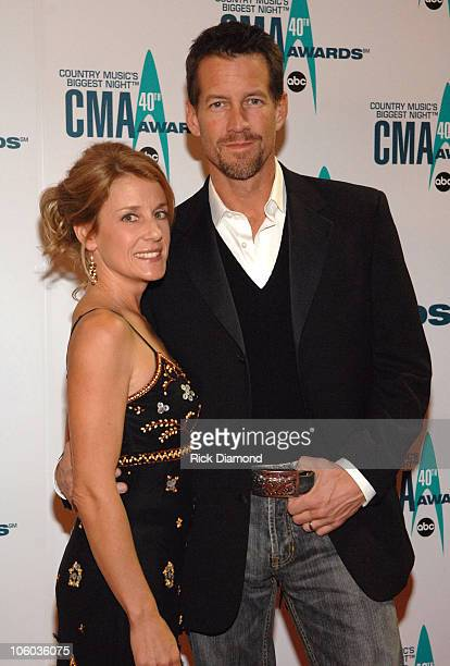 Erin O'Brien and James Denton during The 40th Annual CMA Awards - Arrivals at Gaylord Entertainment Center in Nashville, Tennessee, United States.
