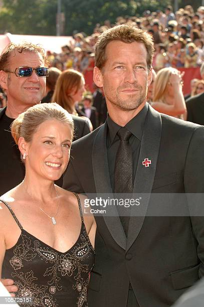 Erin O'Brien and James Denton during The 57th Annual Emmy Awards Arrivals at Shrine Auditorium in Los Angeles California United States