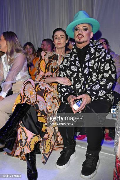 Erin O'Connor and Boy George attend the Richard Quinn show during London Fashion Week September 2021 on September 21, 2021 in London, England.