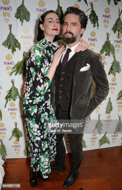 Erin O'Connor and Jack Guinness attend the Pimm's No6 Vodka Cup official launch party at 12 Golden Square on April 11 2018 in London England Pimm's...