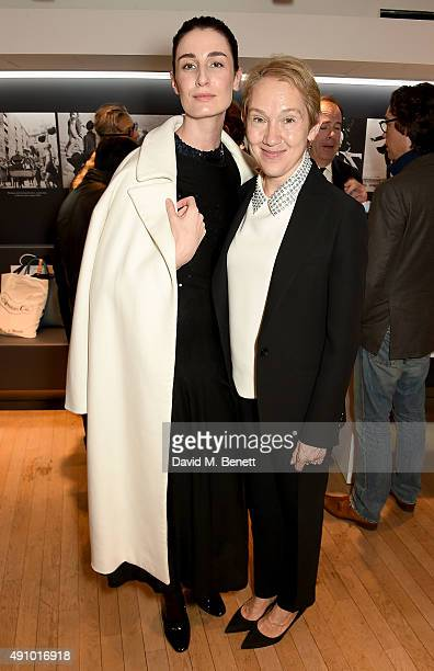 Erin O'Connor and Justine Picardie attend the 'Dior by Avedon' Book Launch at Collette on October 2 2015 in Paris France