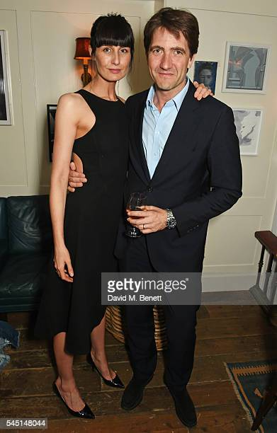 Erin O'Connor and Kris Thykier attend a private dinner hosted by Dylan Jones and JeanDavid Malat to celebrate artist Mike Dargas at Soho House on...