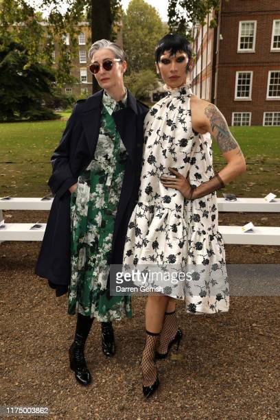 Erin O'Connor and Miss Fame attend the Erdem show during London Fashion Week September 2019 on September 16 2019 in London England