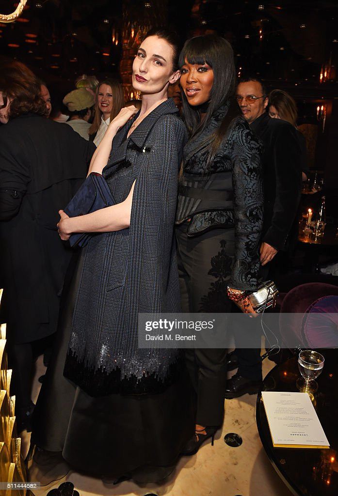 Erin O'Connor (L) and Naomi Campbell attend the Marc Jacobs Beauty dinner at the Club at Park Chinois on February 20, 2016 in London, England.
