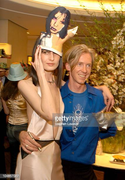 Erin O'Connor and Philip Treacy during Philip Treacy Shows His Spring 2003 Hat Collection at Bergdorf's at Bergdorf Goodman in New York City, NY,...