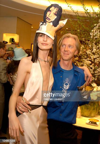 Erin O'Connor and Philip Treacy during Philip Treacy Shows His Spring 2003 Hat Collection at Bergdorf's at Bergdorf Goodman in New York City NY...