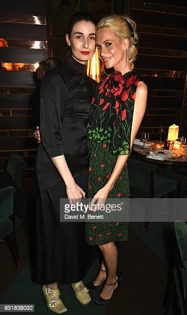 Erin O'Connor and Poppy Delevingne attend the Rodial dinner hosted by Poppy Delevingne and Maria Hatzistefanis at Casa Cruz on January 16 2017 in...