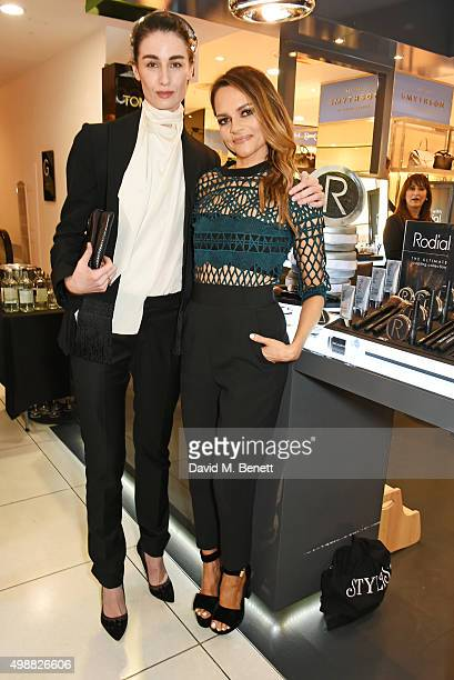 Erin O'Connor and Rodial founder Maria Hatzistefanis celebrate Rodial 1st year anniversary at Harvey Nichols on November 26 2015 in London England