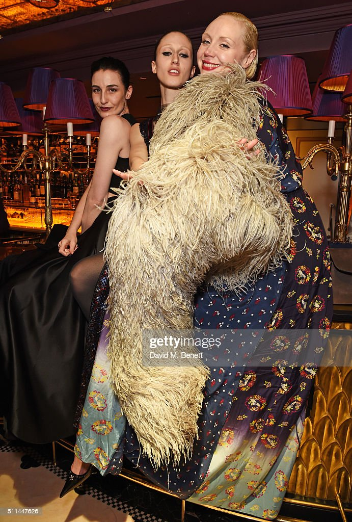 Erin O'Connor, Anna Cleveland and Gwendoline Christie attend the Marc Jacobs Beauty dinner at the Club at Park Chinois on February 20, 2016 in London, England.