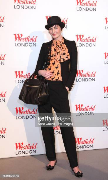 Erin O'Connor arrives at 'The Greatest Fashion Show on Earth' held at Westfield shopping centre London