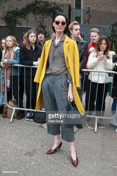 Erin O'Connor arrives at the Topshop Unique show during the London Fashion Week February 2017 collections on February 19 2017 in London England