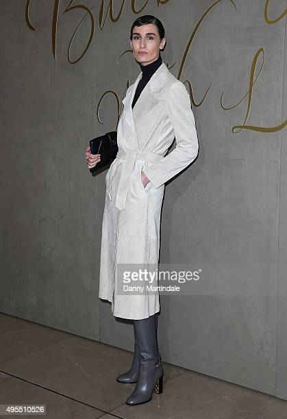 Erin O'Connor arrives for the premiere of the Burberry Festive Film at Burberry on November 3 2015 in London England