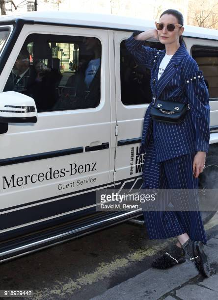 Erin O'Connor arrives to the opening ceremony of London Fashion Week at 180 The Strand on February 16 2018 in London England MercedesBenz will move...