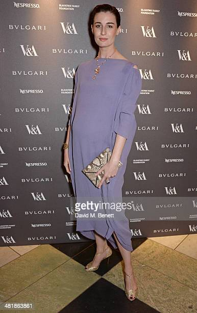 Erin O'Connor attends a private dinner celebrating the Victoria and Albert Museum's new exhibition 'The Glamour Of Italian Fashion 1945 2014' at...