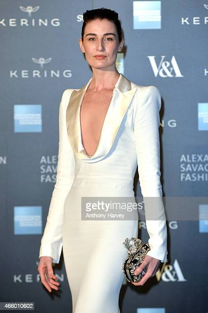 Erin O'Connor attends a private view for the 'Alexander McQueen Savage Beauty' exhibition at Victoria Albert Museum on March 12 2015 in London England