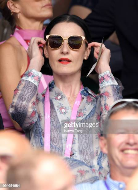 Erin O'Connor attends day seven of the Wimbledon Tennis Championships at the All England Lawn Tennis and Croquet Club on July 9 2018 in London England