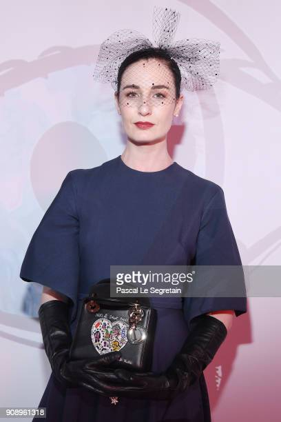 Erin O'Connor attends Le Bal Surrealiste Dior during Haute Couture Spring Summer 2018 show as part of Paris Fashion Week on January 22 2018 in Paris...