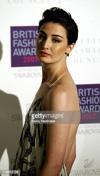 Erin O'Connor attends the British Fashion Awards at the Royal Horticultural Halls on November 27 2007 in London England