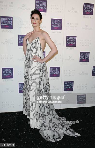 Erin O'Connor attends the British Fashion Awards at the Royal Horticultural Halls on November 27, 2007 in London, England.