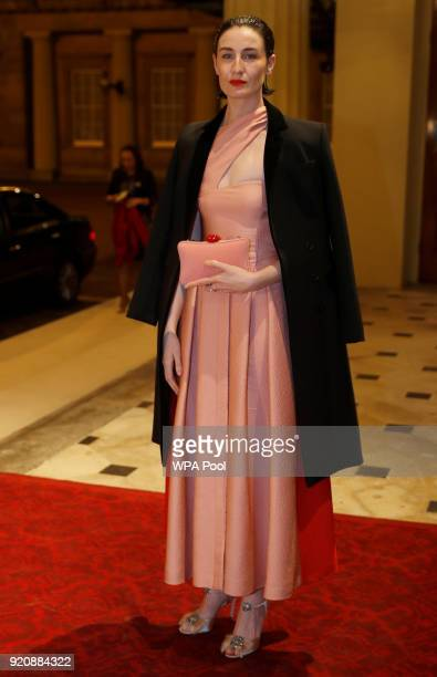 Erin O'Connor attends The Commonwealth Fashion Exchange Reception at Buckingham Palace on February 19 2018 in London England