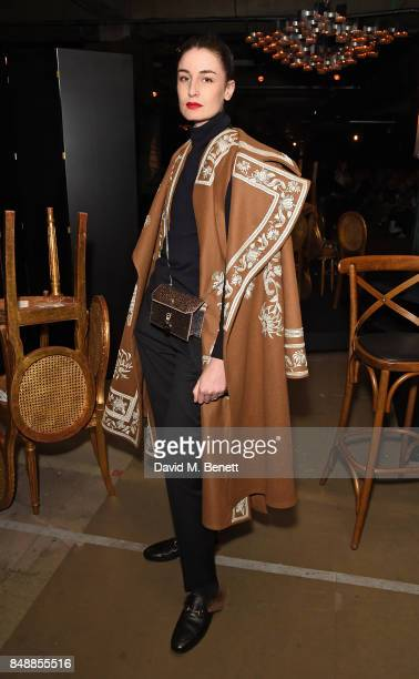 Erin O'Connor attends the Erdem catwalk show during London Fashion Week at The Old Selfridges Hotel on September 18 2017 in London England
