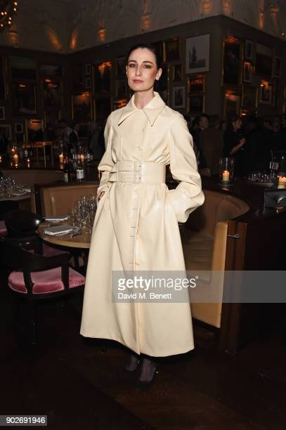 Erin O'Connor attends the GQ London Fashion Week Men's 2018 closing dinner hosted by Dylan Jones and Rita Ora at Berners Tavern on January 8 2018 in...