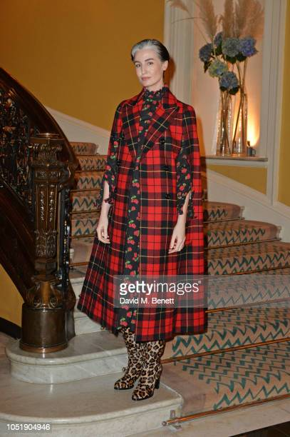 Erin O'Connor attends the Michael Kors cocktail party to celebrate the collaboration with David Downton at Claridge's Hotel on October 11 2018 in...