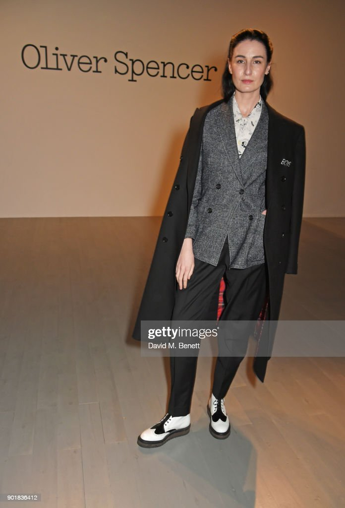 Erin O'Connor attends the Oliver Spencer LFWM AW18 Catwalk Show at the BFC Show Space on January 6, 2018 in London, England.