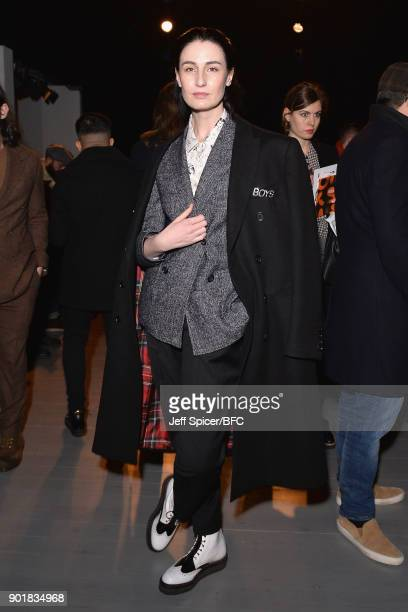 Erin O'Connor attends the Oliver Spencer show during London Fashion Week Men's January 2018 at BFC Show Space on January 6, 2018 in London, England.