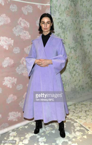 Erin O'Connor attends the Richard Quinn show during London Fashion Week February 2018 at BFC Show Space on February 20 2018 in London England