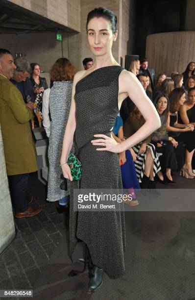 Erin O'Connor attends the Roland Mouret SS18 catwalk show during London Fashion Week September 2017 at The National Theatre on September 17 2017 in...