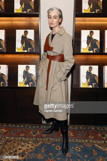 Erin O'Connor attends the Sportmax cocktail event to celebrate the 50th anniversary with a book published by Assouline at Maison Assouline on...